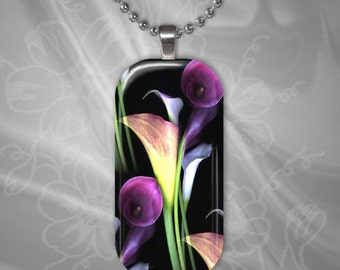 Vibrant Calla Lily Glass Tile Pendant with chain(CuFlR21.1)