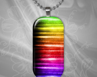 Rainbow Lights Glass Tile Pendant with chain(CuRaR1.5)