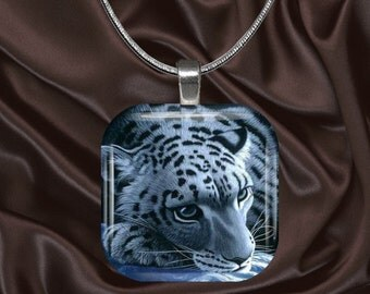 Snow Leopard Glass Tile Pendant with chain(CuAn5.2)