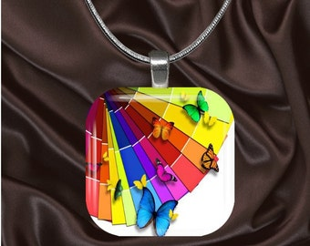 Rainbow Paint Fan Glass Tile Pendant with chain(CuRa2.4)