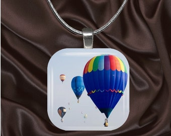 Hot Air Balloons Glass Tile Pendant with chain(CuRa2.7)