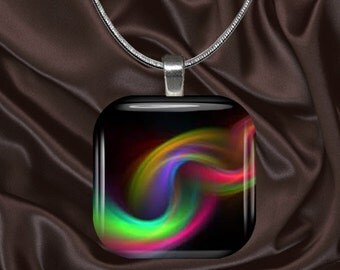 Rainbow Chain Glass tile Pendant with chain(CuRa4.3)