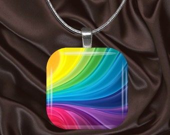 Rainbow Ribbons Glass Tile pendant with chain(CuRa4.4))