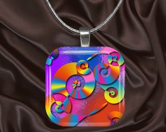 Rainbow Swirls Glass Tile Pendant with chain(CuRa5.3)