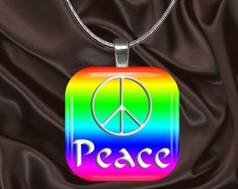 Rainbow Peace Glass tile Pendant with chain(CuRa5.4)
