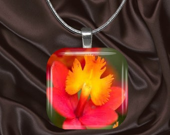 Vibrant Hot Pink and Yellow Floral Glass Tile Pendant with chain(CuFl25.7)