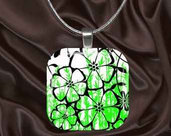 Black,Lime and White Floral Glass Tile Pendant with chain(CuFl5.3)