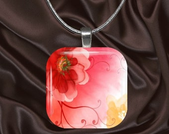 Fantasy Red Poppy Glass Tile Pendant with chain(CuFl7.6)
