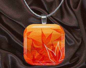 Orange Floral Glass Tile Pendant with chain(CuFl7.7)