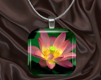 Floral Glass Tile Pendant with chain(CuFl9.2)