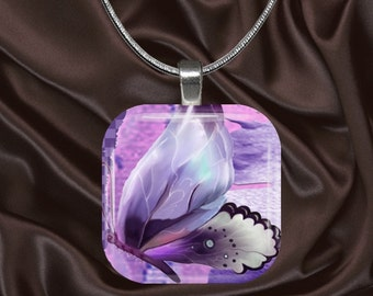 Pretty Mauve Butterfly Glass Tile Pendant with chain(CuBu1.5)
