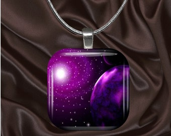 Purple Space Glass tile Pendant with chain(CuFF12.3)