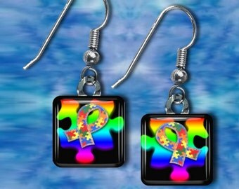 Autism Awareness Glass tile Earrings(EAut3.2)