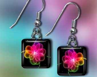 Neon Floral Fantasy Earrings(ECuFl8.5)