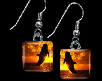 Whale at Sunset Earrings(ELiDa5.6)