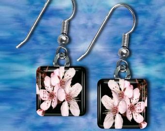 Cherry Blossoms on Black Earrings(ECuOr2.6)