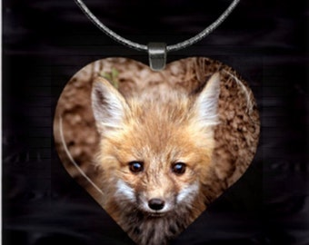 Baby Fox Heart Pendant with chain(CuAnH9.6)