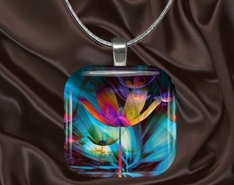 Fantasy Floral Glass Tile Pendant with chain(CuFF17.2))