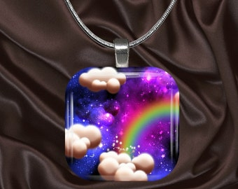 Rainbow Sky Glass Tile Pendant with chain(CuFF17.3)