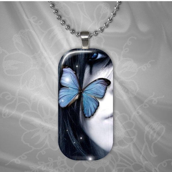 Butterfly on Girls Cheek Glass tile Pendant with chain(CuBuR2.7)