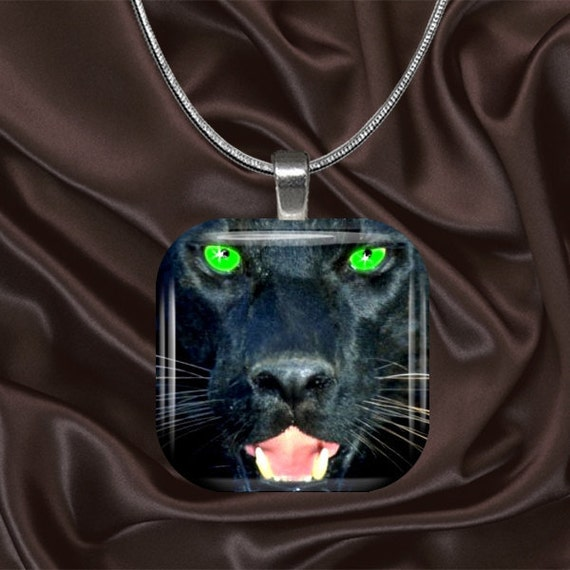 Black Panther Glass Tile pendant with chain(CuAn3.1)