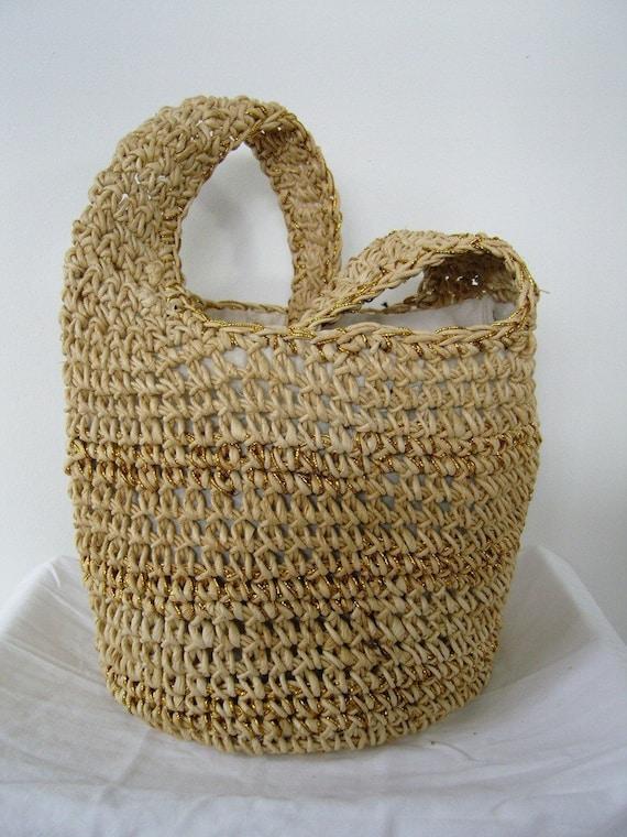 Gold Fleck Cross Body Beach Bag - Vintage