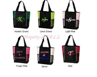 Personalized Embroidered Diaper Bag Bridesmaid Gift Tote 6 colors to choose from Teacher Cheer Dance Coach