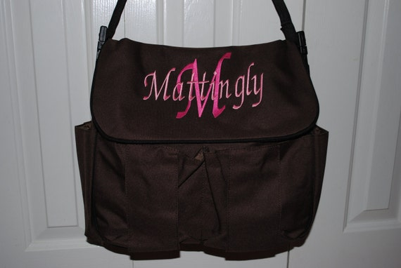 Personalized Embroidered Diaper Bag 3 colors to choose from Monogrammed Pink Brown Blue Embroidery Monogram