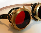 """Steampunk Goggles Black and Brass (2"""")"""