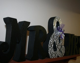 Damask wedding, Wedding decor, Black and white, Mr and Mrs sign, Bride and groom, Wood letters, Monogram letter, Wedding centerpiece
