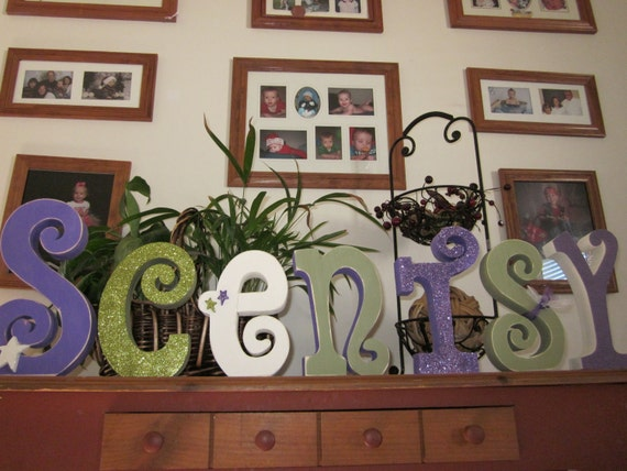 Custom name 7 letter set Nursery Kids Rooms glitter hand painted