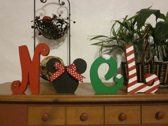 Christmas decoration wood letters noel
