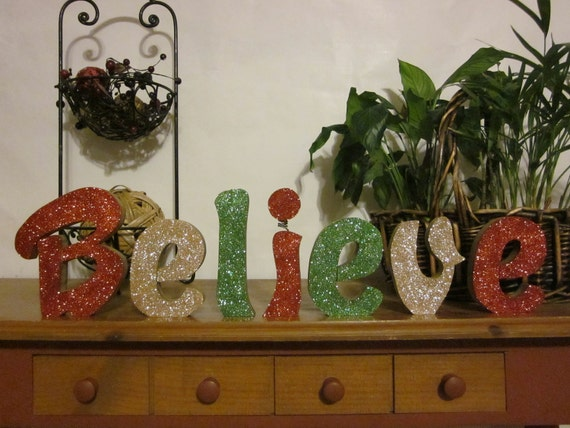 Christmas Decoration Believe wood letters shelf sitter mantel fireplace gift
