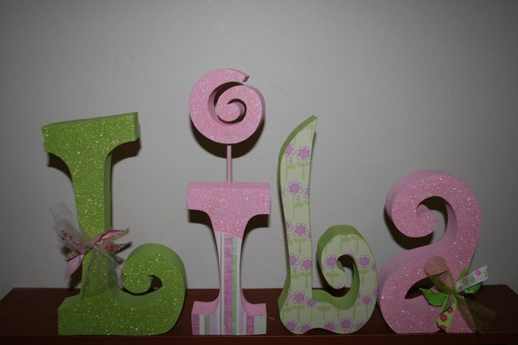 Custom wood letters nursery letters girl by woodenwondersshop for Wooden letters for baby nursery