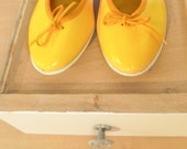 "RESERVED for Yankiyanetsy -  VINTAGE Size 6-6.5 Bright Yellow ""Lollipops"" Flats"
