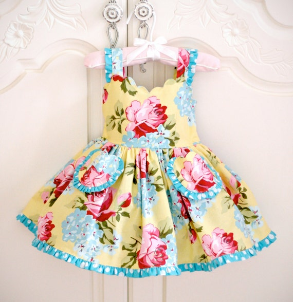 Girls Couture Dress scalloped bodice, ruffle twirl skirt in yellow red and blue polka dot 12 mo, 2t toddler baby