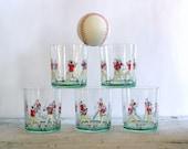 Vintage Baseball Highball Drinking Glass Set