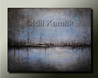 Original ABSTRACT Modern Landscape Seascape PAINTING blue and grey tones Contemporary Fine Art by Idil Kamlik