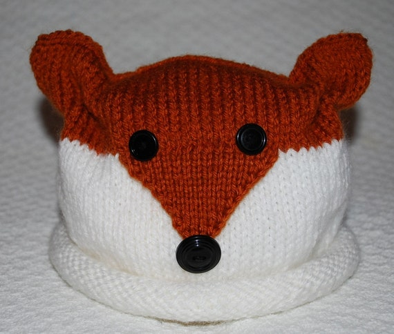 Items similar to Childrens Hand Knit Red Fox Hat - Made To Order on Etsy