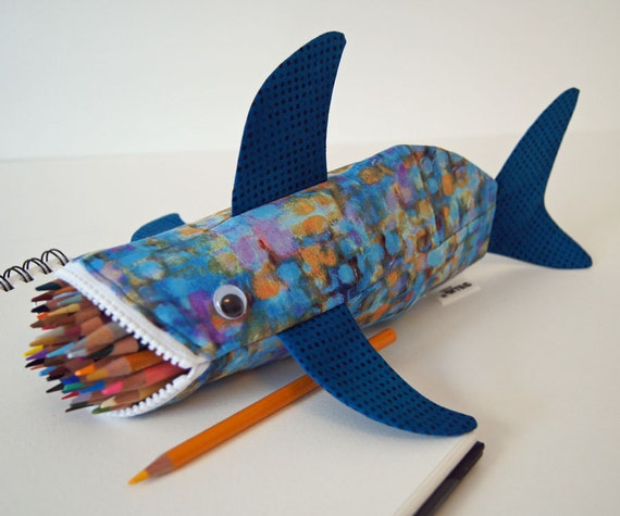 CLEARANCE - Shark Pencil Case - Shark Bag - Zipper Pouch - Cute Gift: Impressionistic Shark Bite