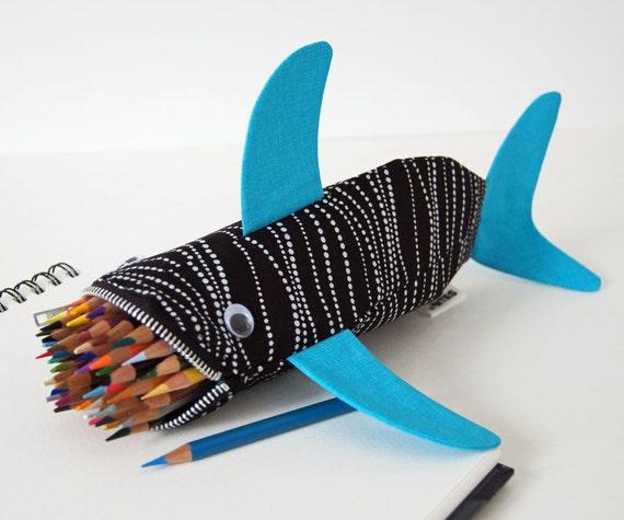 SALE - Shark Bag - Zipper Pencil Case - Fun Kids Gift - Teachers Gift: High Tide Shark Bite, ready to ship
