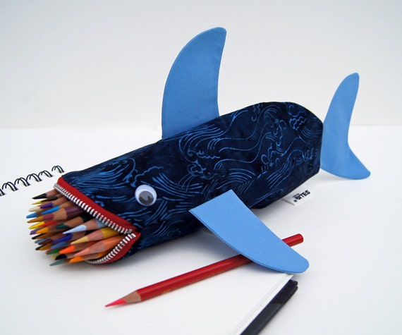 CLEARANCE Shark Pencil Case Geeky Cool Gift for Guys - Shark Bag for Kids - fun desk accessory: Twilight Waves Shark Bite, ready to ship