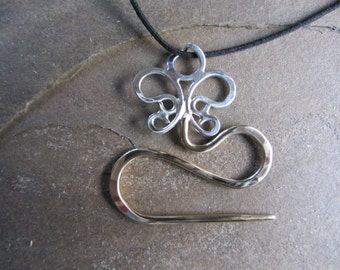 Wearable, Sterling and Bronze, Butterfly Cable Needle Necklace