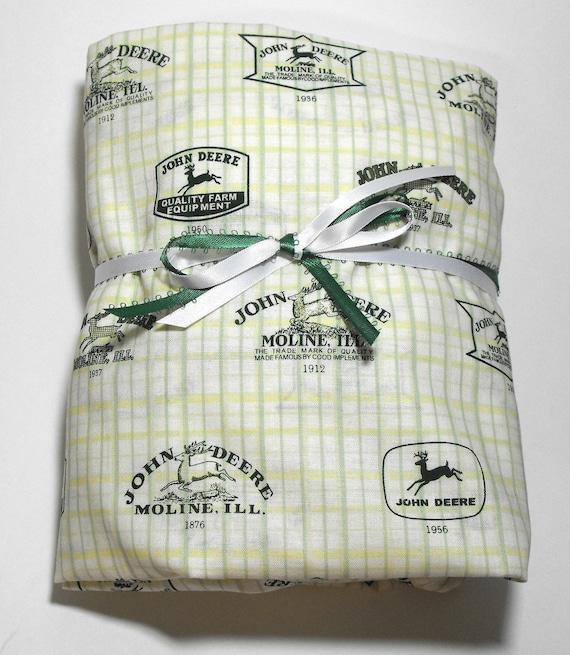 John Deere Sheet, Fitted for Crib or Toddler Bed, John Deere Logos on green