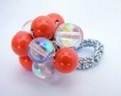 Coral & Crystal Crochet Bead Ring