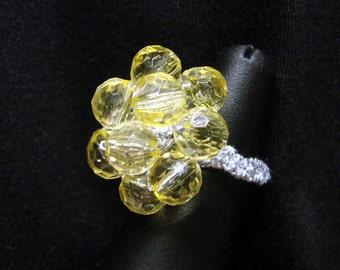 Jonquil Cluster Crochet Bead Ring