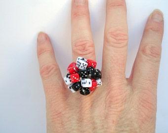 Dice cluster crochet ring