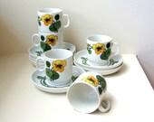 Mid Century Orange Flowers Demitasse Tea Set Porcelain Nasturtium Art Deco Thomas Germany