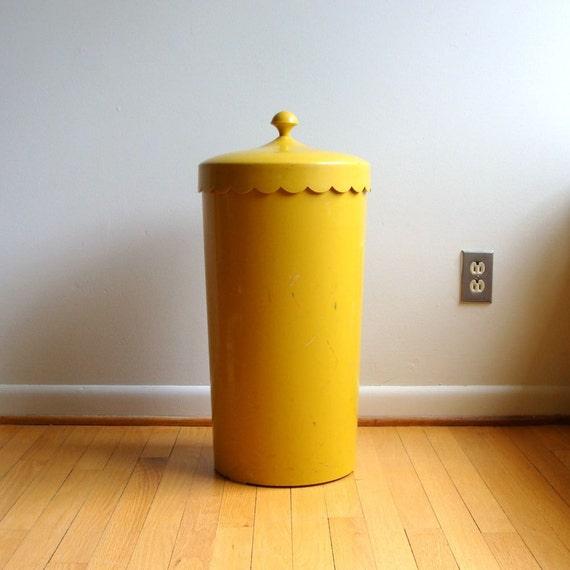 Mod Mustard Yellow Laundry Hamper Melamine 1960's