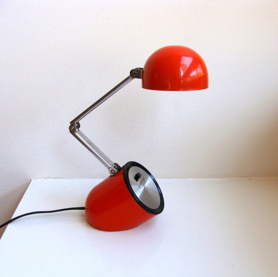 Mod Red Desk Lamp Bullet Adjustable Tensor Atomic 1980
